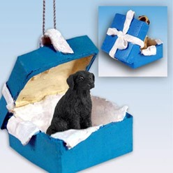 Flat Coated Retriever Gift Box Holiday Ornament