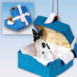 Rat Terrier Gift Box Holiday Ornament