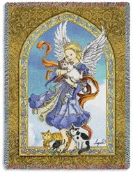 Guardian Angel of Cats Throw, Made in the USA