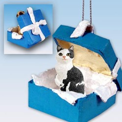 Manx Cat Gift Box Holiday Ornament
