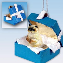 Ragdoll Cat Gift Box Holiday Ornament