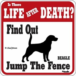 Beagle Jump the Fence Sign