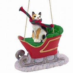 Japanese Bobtail Cat Christmas Ornament with Sleigh