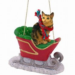 Maine Coon Cat Christmas Ornament with Sleigh