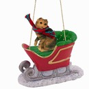 Scottish Fold Cat Christmas Ornament with Sleigh