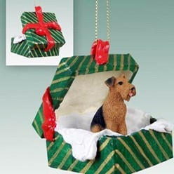 Airedale Green Gift Box Christmas Ornament