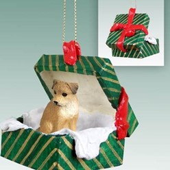 Border Terrier Green Gift Box Christmas Ornament