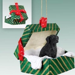 Flat Coated Retriever Green Gift Box Christmas Ornament