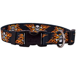 Flaming Skulls Collar Size S, Now 50% Off!