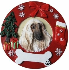 Afghan Hound Wreath Christmas Ornament That Can Be Personalized
