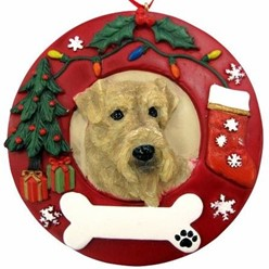 Airedale Terrier Wreath Christmas Ornament That Can Be Personalized