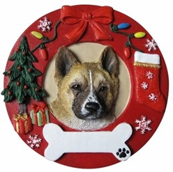 Akita Wreath Christmas Ornament That Can Be Personalized
