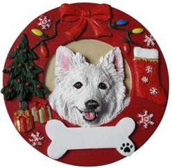 American Eskimo Christmas Ornament That Can Be Personalized