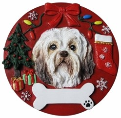 Havanese Wreath Christmas Ornament That Can Be Personalized