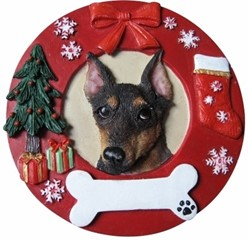 Miniature Pinscher Wreath Christmas Ornament That Can Be Personalized