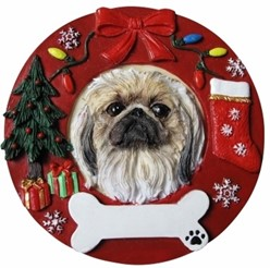 Pekingese Wreath Christmas Ornament That Can Be Personalized
