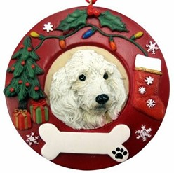 Poodle Wreath Christmas Ornament That Can Be Personalized