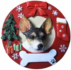 Rat Terrier Wreath Christmas Ornament That Can Be Personalized