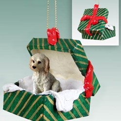 Labradoodle Green Gift Box Christmas Ornament
