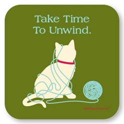 Take Time to Unwind Cat Coasters, Set of 12