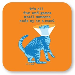It's all Fun and Games Cat Coasters, Set of 12
