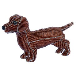 Red Dachshund Beaded Sculpture, Ruby the Dachshund