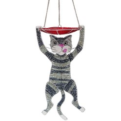 Beaded Cat Sculpture and Bird Feeder