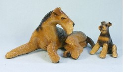 Airedale & Puppy Ron Hevener Limited Edition Dog Figurine