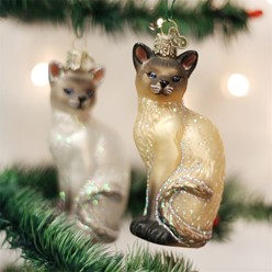 Siamese Cat Vintage Christmas Ornament