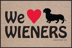 We Heart Wieners Door Mat