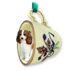 Cavalier King Charles Tea Cup Holiday Ornament