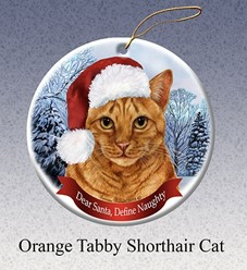 Orange Tabby Shorthair Dear Santa Cat Christmas  Ornament