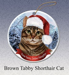 Brown Tabby Shorthair Dear Santa Cat Christmas Ornament