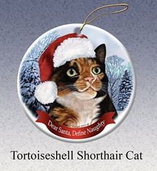 Tortoiseshell Cat Dear Santa Christmas Ornament