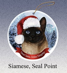 Siamese Dear Santa Cat Christmas Ornament