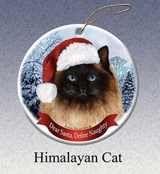 Himalayan Dear Santa Cat Christmas Ornament