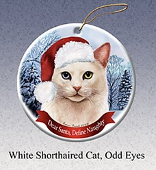White Odd Eyed Cat Dear Santa Christmas Ornament
