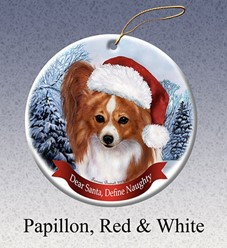 Papillon Dear Santa Dog Christmas Ornament