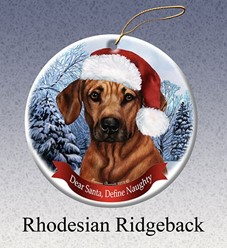 Rhodesian Ridgeback Dear Santa Dog Christmas Ornament