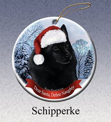 Schipperke Dear Santa Dog Christmas Ornament