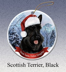 Scottish Terrier Dear Santa Dog Christmas Ornament
