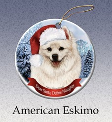 American Eskimo Dear Santa Dog Christmas Ornament