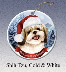 Shih Tzu Dear Santa Dog Christmas Ornament