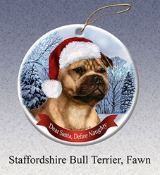 Staffordshire Terrier Dear Santa Dog Christmas Ornament