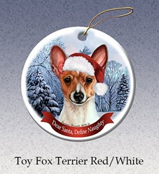 Toy Fox Terrier Dear Santa Dog Christmas Ornament