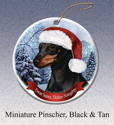 Miniature Pinscher Dear Santa Dog Christmas Ornament