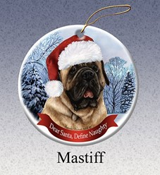 Mastiff Dear Santa Dog Christmas Ornament