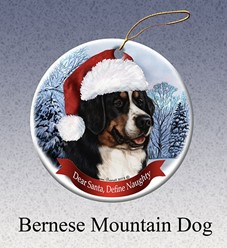 Bernese Mountain Dog Dear Santa Dog Christmas Ornament