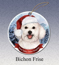 Bichon Frise Dear Santa Dog Christmas Ornament
