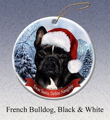 French Bulldog Dear Santa Christmas Ornament